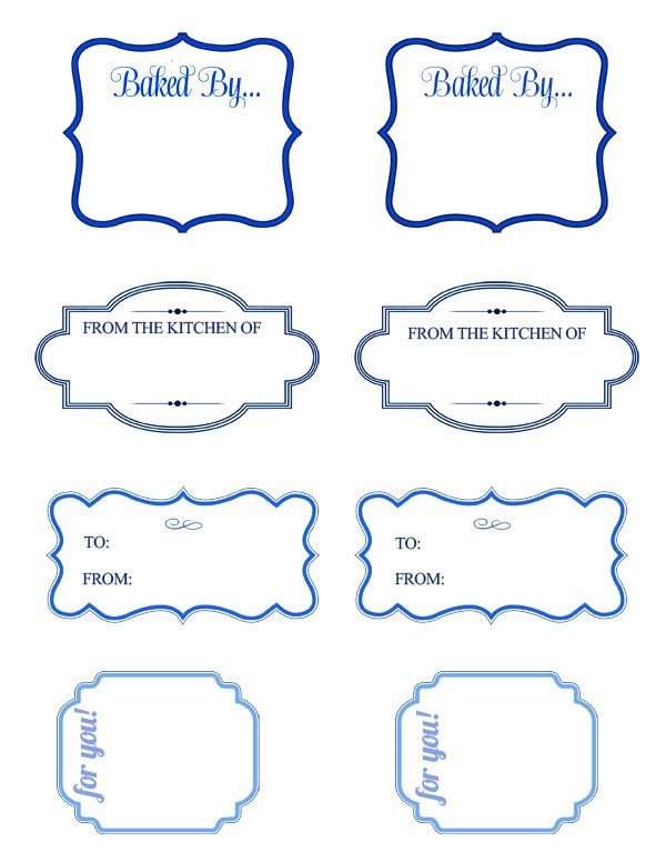 image relating to Free Printable Blank Gift Tags known as cost-free printable baking present tags