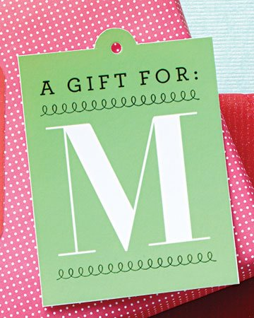 monogrammed free printable christmas gift tag