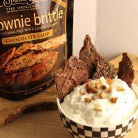 Brownie Brittle with Frangelico Cream Dip