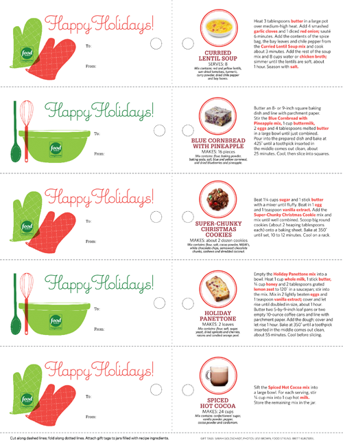 "Free Printable Holiday Gift Tags for ""Recipes in a Jar""!"