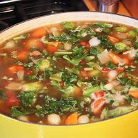 Quick and Easy Vegetable Bean Soup--almost done! Click for recipe from Spiced.