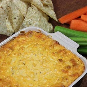 Easy Buffalo Chicken Dip--click for recipe from Spiced!