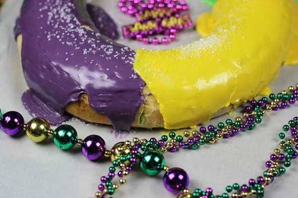 Traditional Mardi Gras King Cake with cinnamon filling--Let the Good Times Roll!