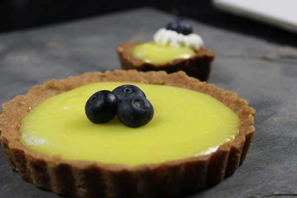 Lemon Tart with Krispy Kreme Blueberry Cake doughnuts