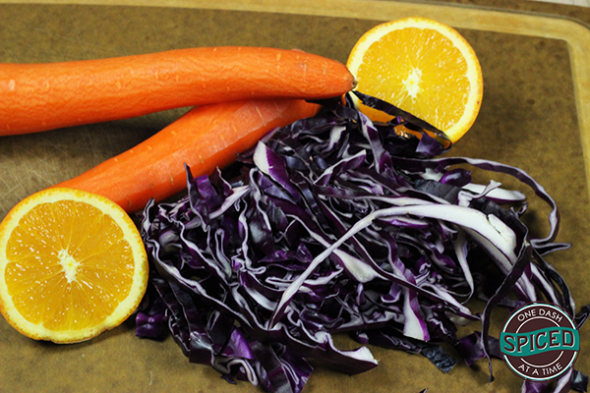 Asian-style Cabbage and Carrot Salad--click for recipe from Spiced!