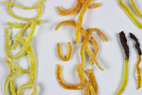 How to make Candied Citrus Peels--click for recipe from Spicedblog.com!