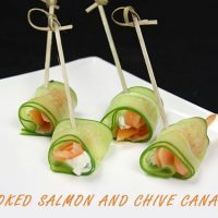 Smoked Salmon and Chive Canapé--super easy party recipe from Spiced!
