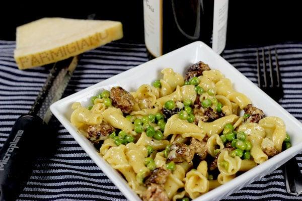 Campanelle + Italian Sausage, Peas, and Parmigiano Reggiano Cream Sauce