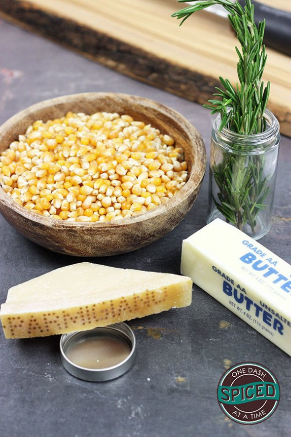 Parmesan + Rosemary Stovetop Popcorn--click for recipe from Spiced!