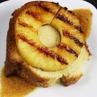 Homemade Vanilla Pound Cake with Seared Pineapple and Honey Sauce--click for recipe from Spiced!