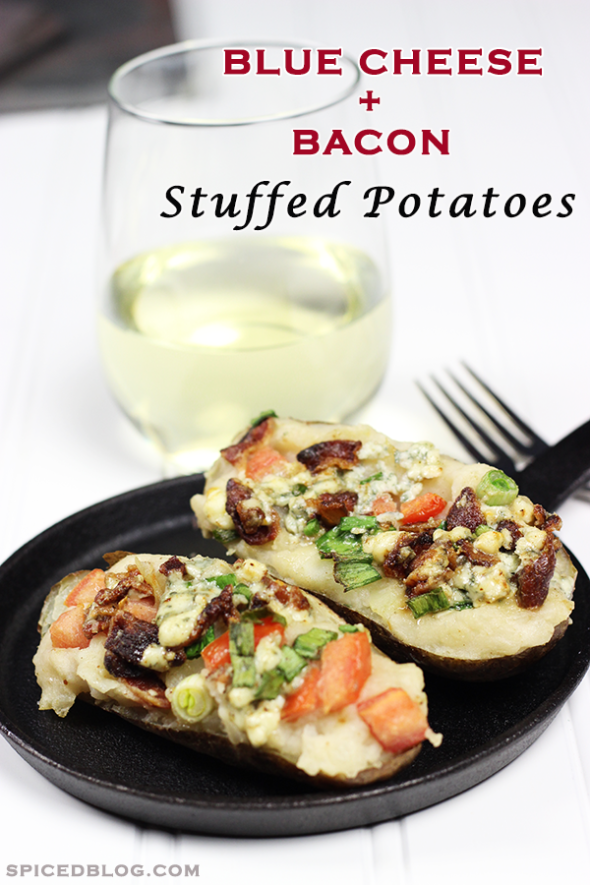 Blue Cheese + Bacon Stuffed Potatoes from spicedblog.com! #bluecheese #steakhouse #stuffedpotato #bacon