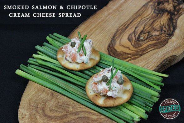 Smoked Salmon & Chipotle Cream Cheese Dip--click for recipe from Spiced!