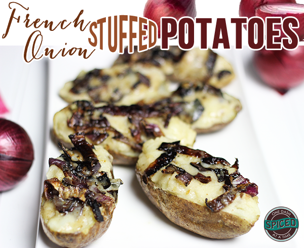 French Onion Stuffed Potatoes--click for recipe from Spiced!