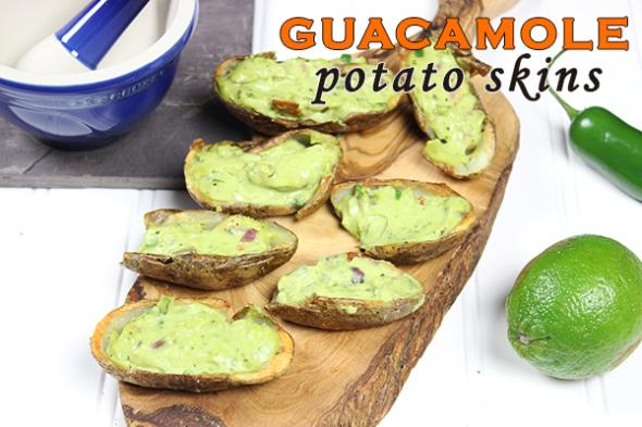 Guacamole Potato Skins--perfect appetizer for Cinco de Mayo! #appetizer #guacamole #cincodemayo
