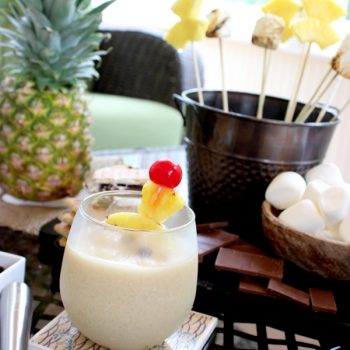 The Campfire Colada: a frozen drink with Bacardi Mixer's Pina Colada and coffee (yes, coffee!) #summer #bacardimixers99
