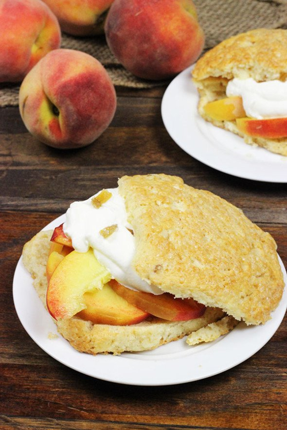 Peach Shortcakes with Candied Ginger #peaches #summer