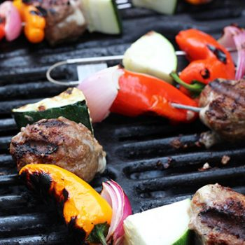 Grilled Monterrey-Jack Stuffed Meatball Kabobs
