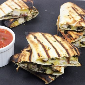 Grilled Chicken + Red Onion Quesadillas