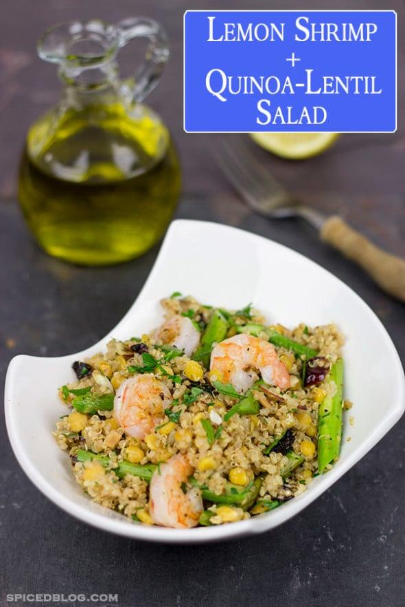 Lemon Shrimp + Quinoa-Lentil Salad | Spicedblog.com