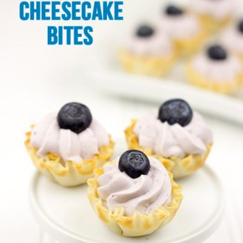 No-Bake Blueberry Cheesecake Bites: These colorful bite-sized desserts only take a few minutes to make!
