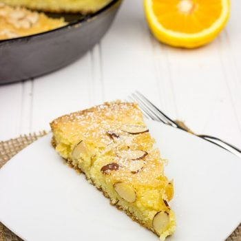 This Orange Almond Skillet Cake is incredibly easy to make...and it's perfect for breakfast or dessert!
