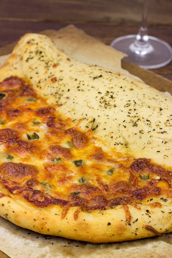 Napoleon Hat Pizza: It's half pizza-half calzone and 100% awesome!!