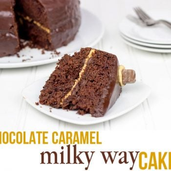 Chocolate Caramel Milky Way Cake #EatMoreBites #shop