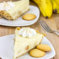 This Banana Cream Pie features a crust made from ground vanilla wafers! Enjoy a slice on the back porch this weekend!