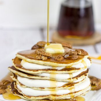 Featuring alternating layers of deliciousness, these Buttermilk Pancakes with Butter Pecan Cream are one awesome breakfast treat!