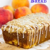 This Peach Crumble Bread is loaded with diced peaches and topped with a brown sugar cinnamon crumble. A slice of this bread is the perfect way to start a warm summer morning!