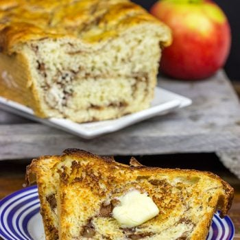 This Apple Pie Bread is complete with a cinnamon apple filling. Toast up a slice of this bread for a tasty treat on a cool Fall morning!