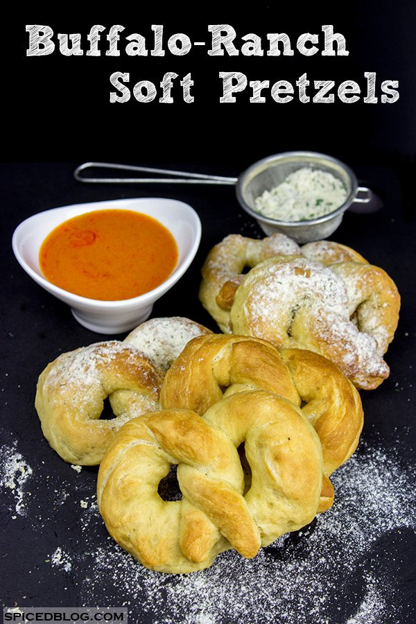 Get ready for game day with a big batch of these Buffalo Ranch Soft Pretzels!