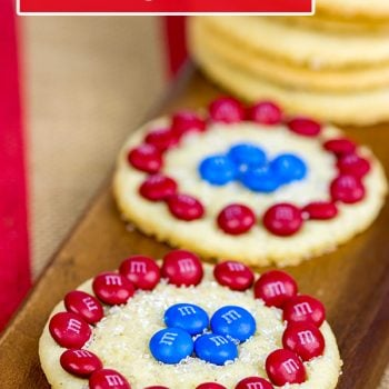 Inspired by Captain America's shield, these classic sugar cookies are decorated with M&Ms to create a tasty treat! #HeroesEatMMs #shop