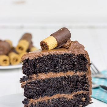 This Double Chocolate Birthday Cake features layers of moist chocolate cake covered in a classic chocolate buttercream frosting.