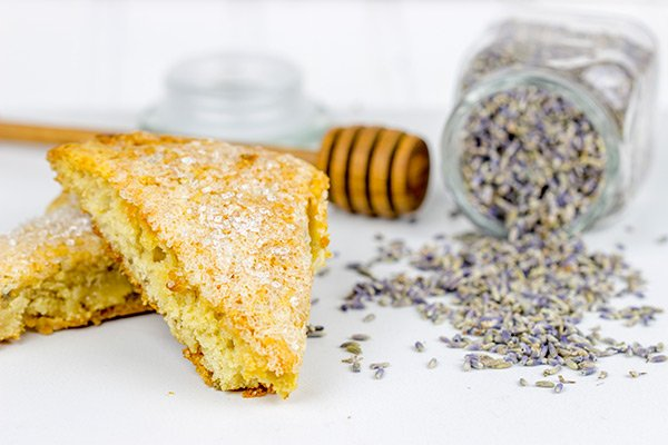 Lightly spiced with lavender, honey and citrus, these Honey Lavender Scones are a delicious treat alongside a cup of coffee!  #MillstoneCoffee