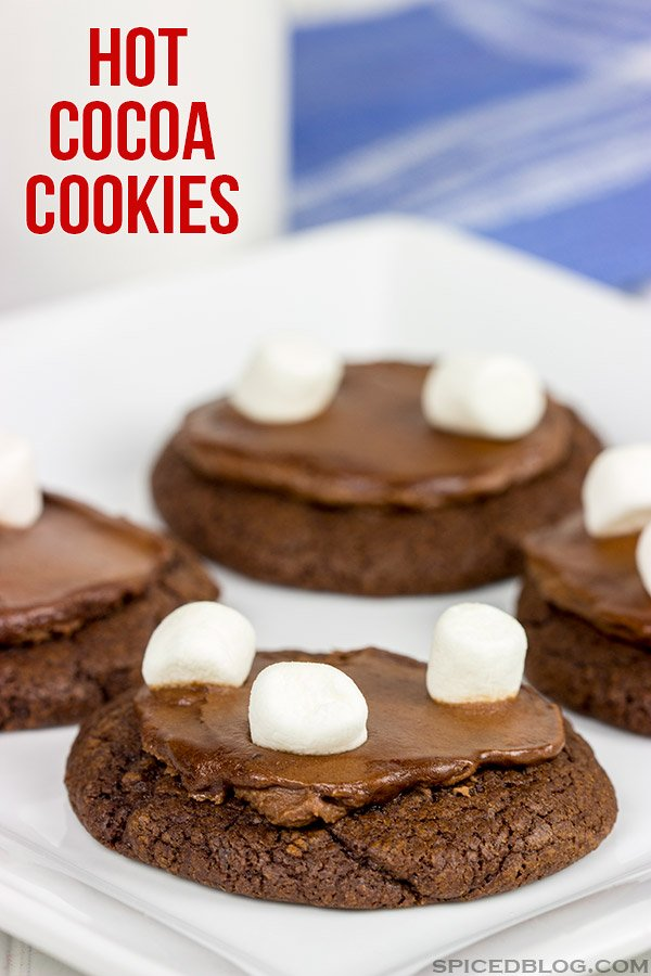Loaded with chocolate and topped with marshmallows, these Hot Cocoa Cookies are just like your favorite Winter drink...only in frosted cookie form!