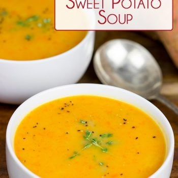 This Creamy Carrot and Sweet Potato Soup is a quick and healthy recipe that'll warm you up on chilly winter days!