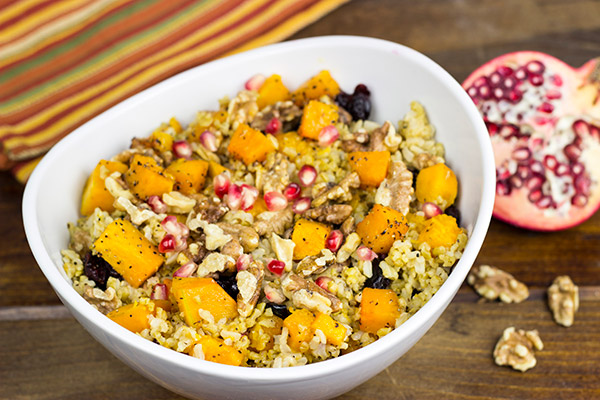 Mix things up a bit! This Roasted Squash and Freekah Pilaf is a delicious seasonal side dish!