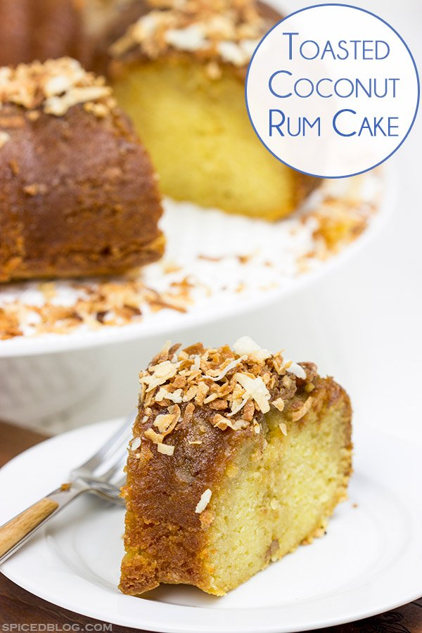 Soaked overnight in dark rum and then topped with toasted coconut, this Toasted Coconut Rum Cake is a great way to celebrate the holidays!