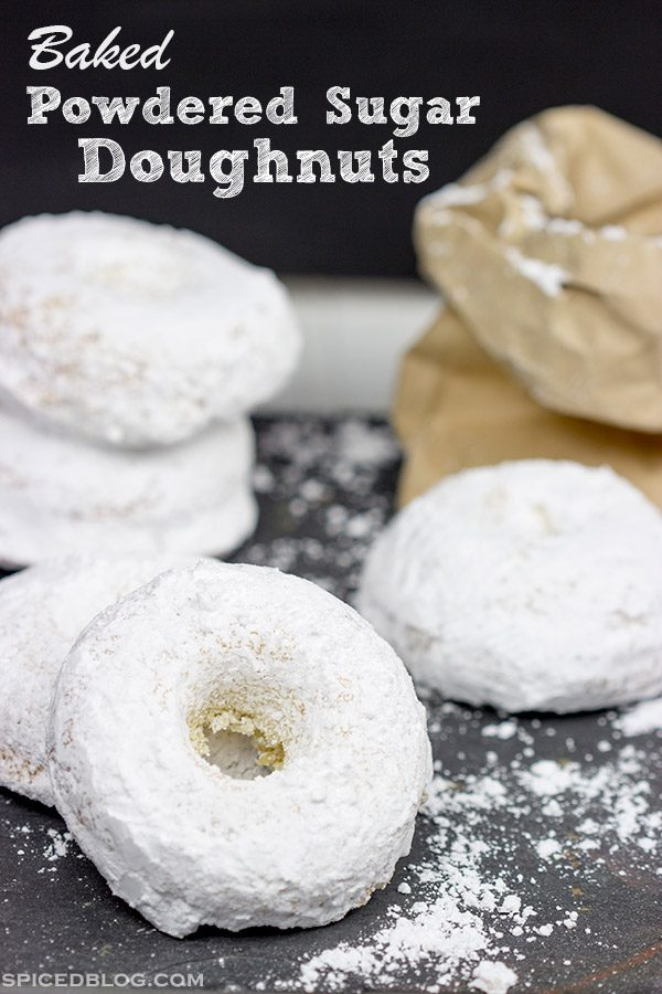 These Baked Powdered Sugar Doughnuts are a quick and easy classic!