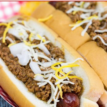 Featuring a splash of bourbon (yes, bourbon!), these Chili Cheese Dogs are a classic comfort food...perfect for snacking on during sporting events!