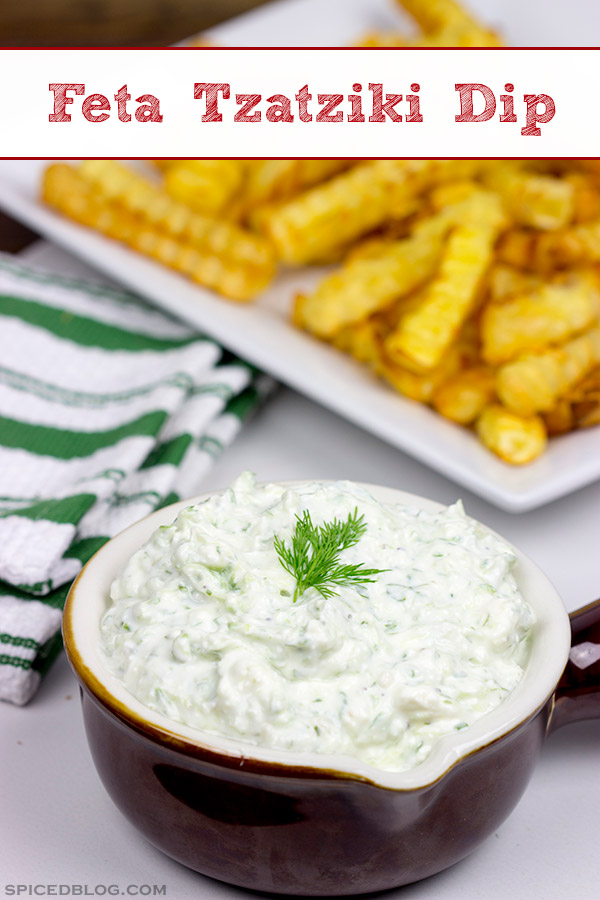 This Feta Tzatziki Dip is a flavorful and unique dip that is sure to disappear quickly!