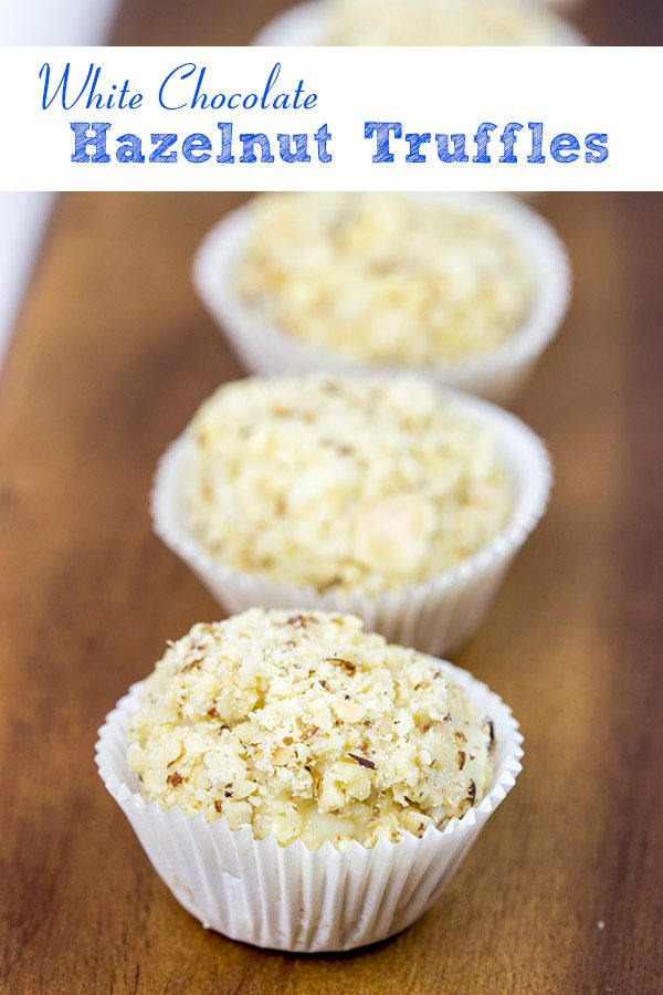 Packed with flavor and then rolled in chopped hazelnuts, these White Chocolate Hazelnut Truffles are a fun sweet treat to serve at your next party!