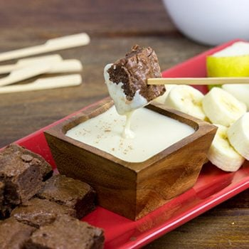 Fondue is making a comeback...starting with dessert! These Brownie Bites with French Vanilla Dipping Sauce are a fun and tasty treat!