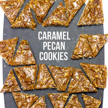 Soft shortbread cookies topped with gooey caramel and crunchy pecans. These Caramel Pecan Cookies are a winner!