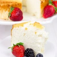 Grab some fresh berries and serve them up a slice of this light and airy Hazelnut Angel Food Cake!
