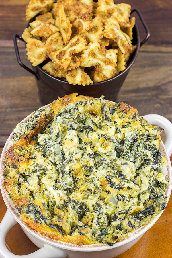 Spinach Artichoke Dip with Fried Bowtie Pasta