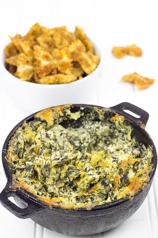 Spinach Artichoke Dip With Fried Bowtie Pasta Fried Pasta Is A Fun Twist
