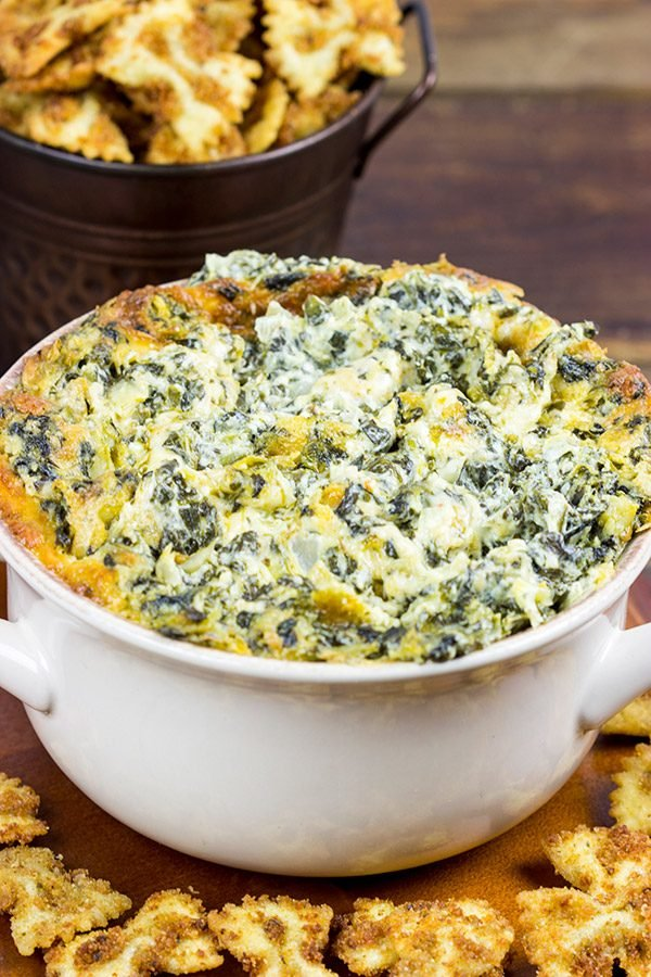 Skip the chips when you make this tasty Spinach Artichoke Dip. Go with fried bowtie pasta instead!