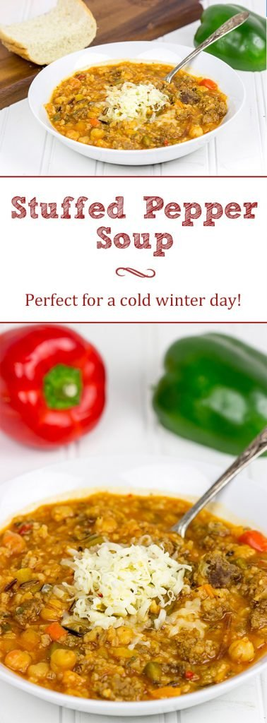 This Stuffed Pepper Soup features all of the flavors of the classic baked stuffed pepper...just in soup form. It's a delicious way to chase the winter blues away